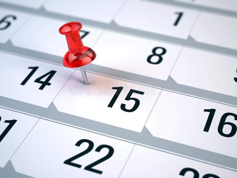 Concept of important day, reminder, organizing time and schedule - red pin marking important day on a calendar stock photos