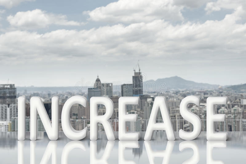 Concept of improve, increase, boost. Etc. Images with 3d text and copyspace under sky royalty free stock photo