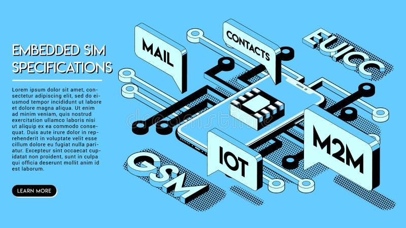 Concept inclus de SIM Nouvelle technologie de communication mobile illustration de vecteur