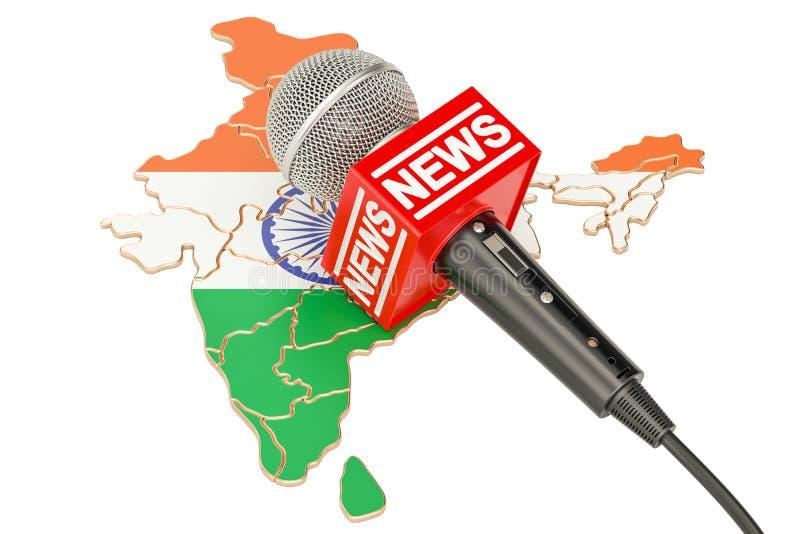 Concept indien d'actualités, actualités de microphone sur la carte de l'Inde 3d ren illustration de vecteur