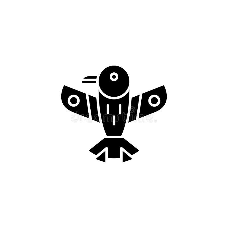 Concept indien d'icône de noir d'aigle Symbole plat de vecteur d'aigle indien, signe, illustration illustration de vecteur