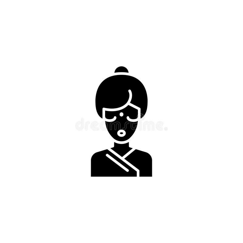 Concept indien d'icône de noir de femme Symbole plat de vecteur de femme indienne, signe, illustration illustration stock