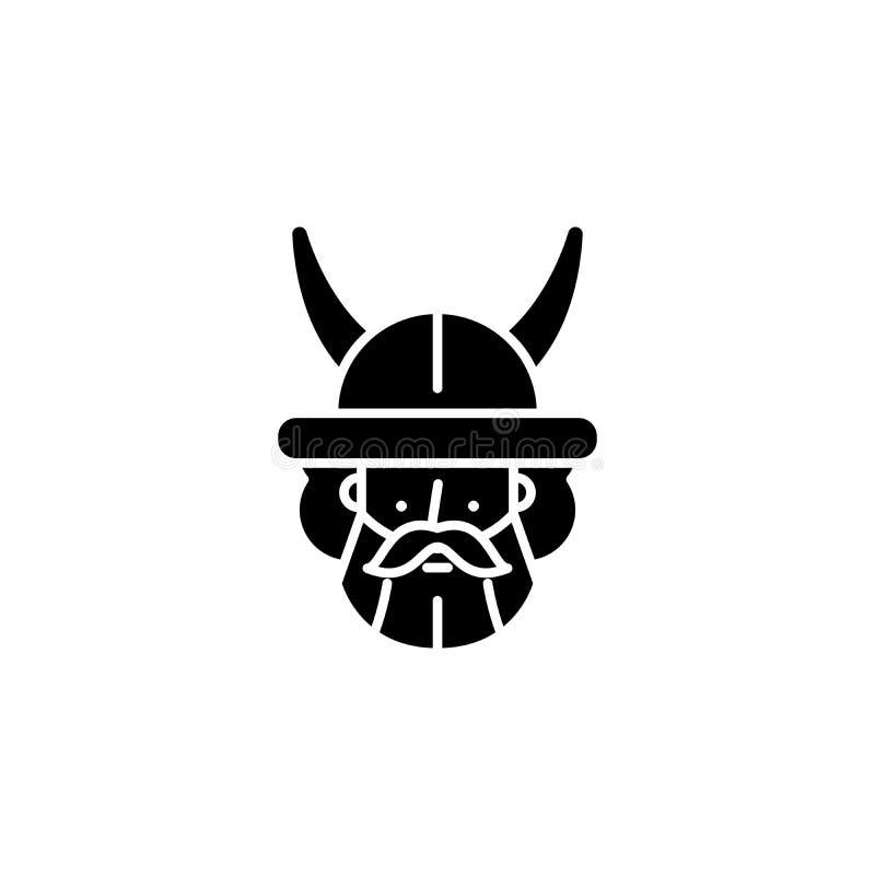 Concept indien d'icône de noir de guerrier Symbole plat de vecteur de guerrier indien, signe, illustration illustration libre de droits