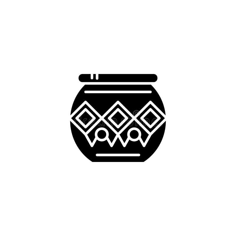 Concept indien d'icône de noir de pot Symbole plat de vecteur de pot indien, signe, illustration illustration stock