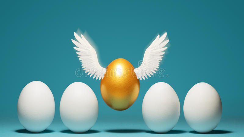 Concept of individuality, exclusivity, better choice. Golden egg takes off, waving its wings, among white eggs on blue background stock images