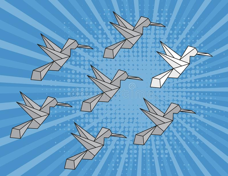 Concept of individuality, leadership strategy. Paper bird stock illustration