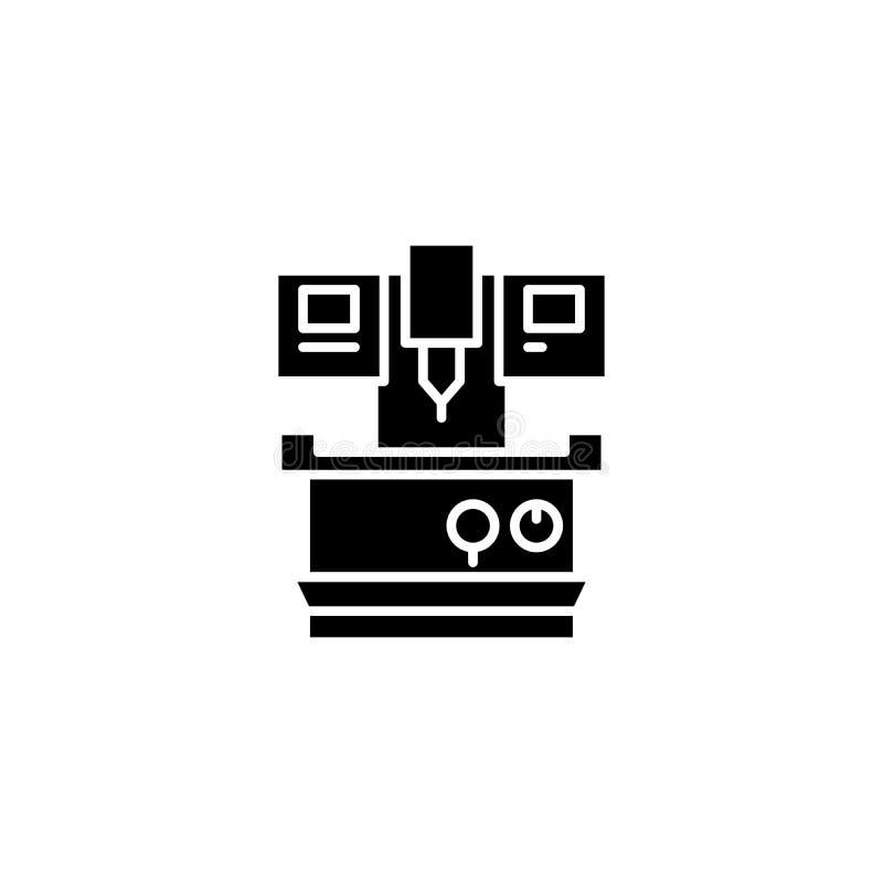 Concept industriel d'icône de noir de machine-outil Symbole plat industriel de vecteur de machine-outil, signe, illustration illustration de vecteur