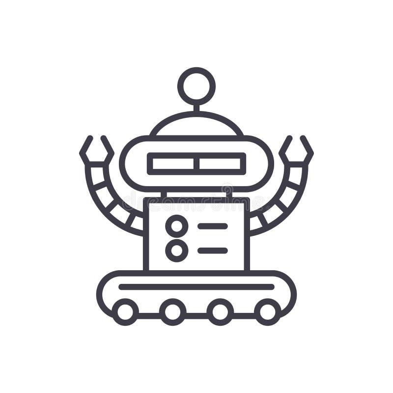 Concept industriel d'icône de noir de robotique Symbole plat de vecteur de robotique industrielle, signe, illustration illustration libre de droits
