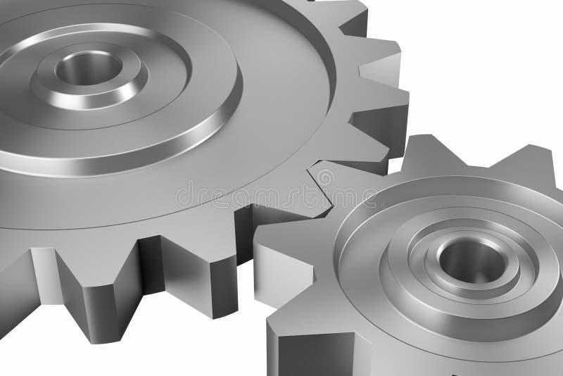 Deux roues dentées de verrouillage sur la diagonale de haut en bas illustration de vecteur