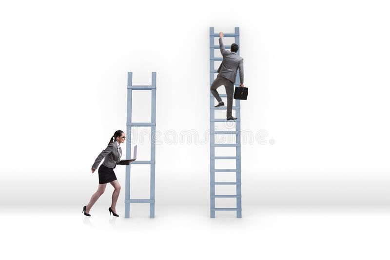 The concept of inequal career opportunities between man woman stock images