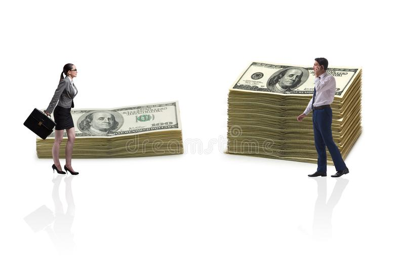 The concept of inequal pay and gender gap between man woman stock image