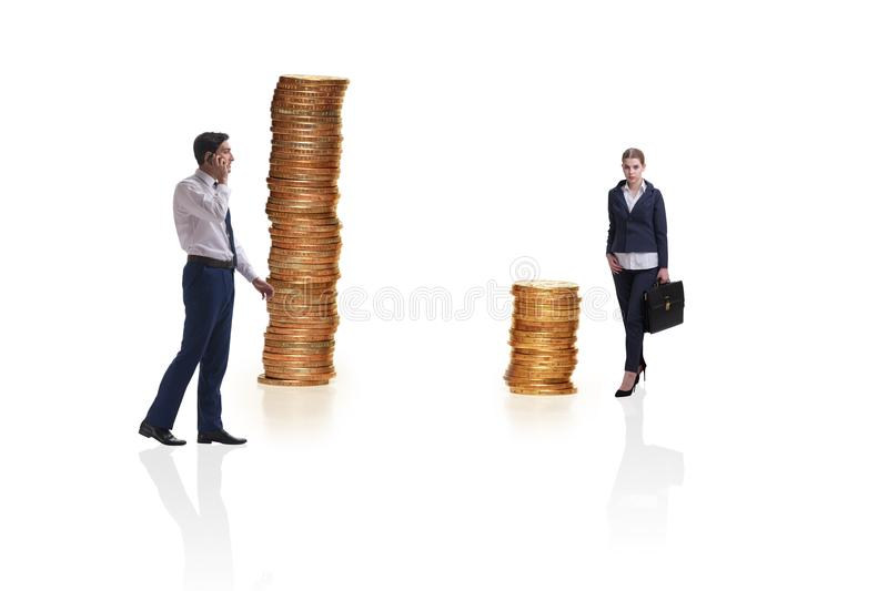 The concept of inequal pay and gender gap between man woman stock photos