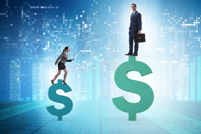The concept of inequal pay and gender gap between man woman stock images