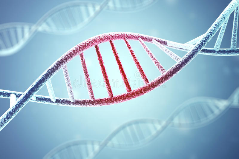 Concept of the infected, patient DNA structure on blue background.3d rendering royalty free illustration