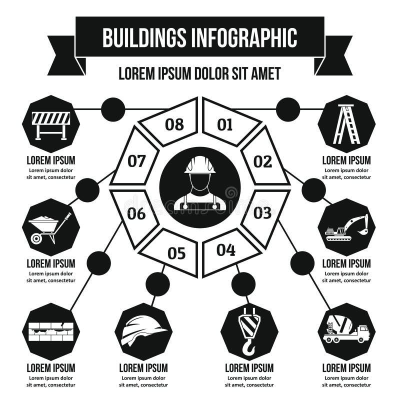Concept infographic de bâtiments, style simple illustration de vecteur