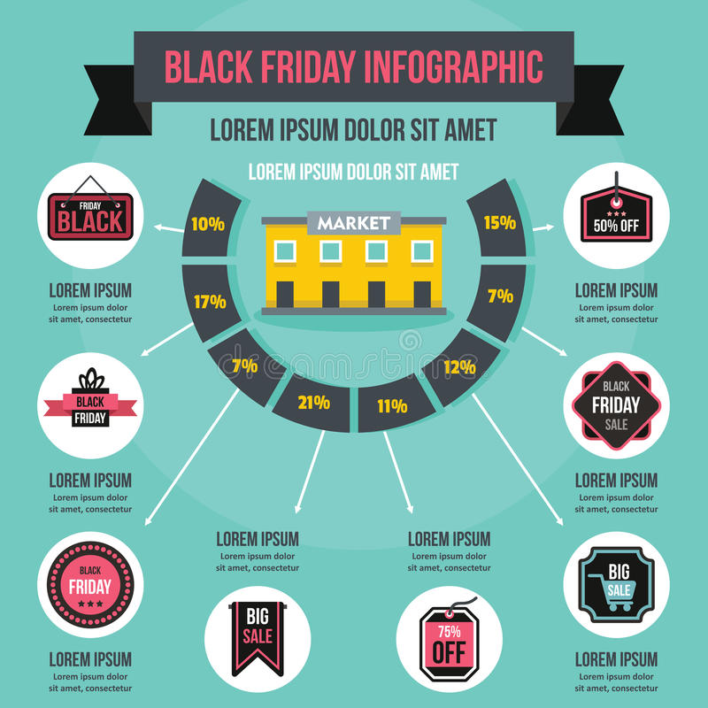 Concept infographic de Black Friday, style plat illustration libre de droits