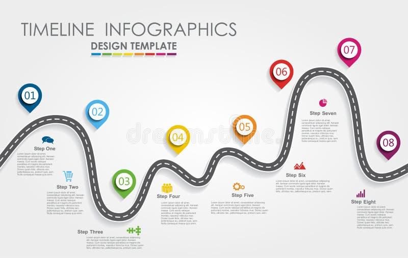 Concept infographic de chronologie de feuille de route de navigation avec l'endroit pour vos données Illustration de vecteur illustration stock