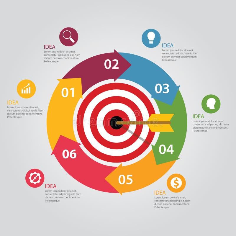 Concept infographic de flèche de panneau de dard de cible d'affaires de carte du monde d'accomplissement de buts illustration libre de droits