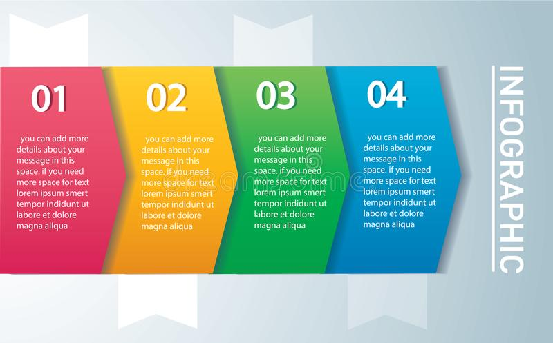 Concept infographic de flèche Dirigez le calibre avec 4 options, pièces, étapes, boutons Peut être employé pour le Web, diagramme illustration de vecteur