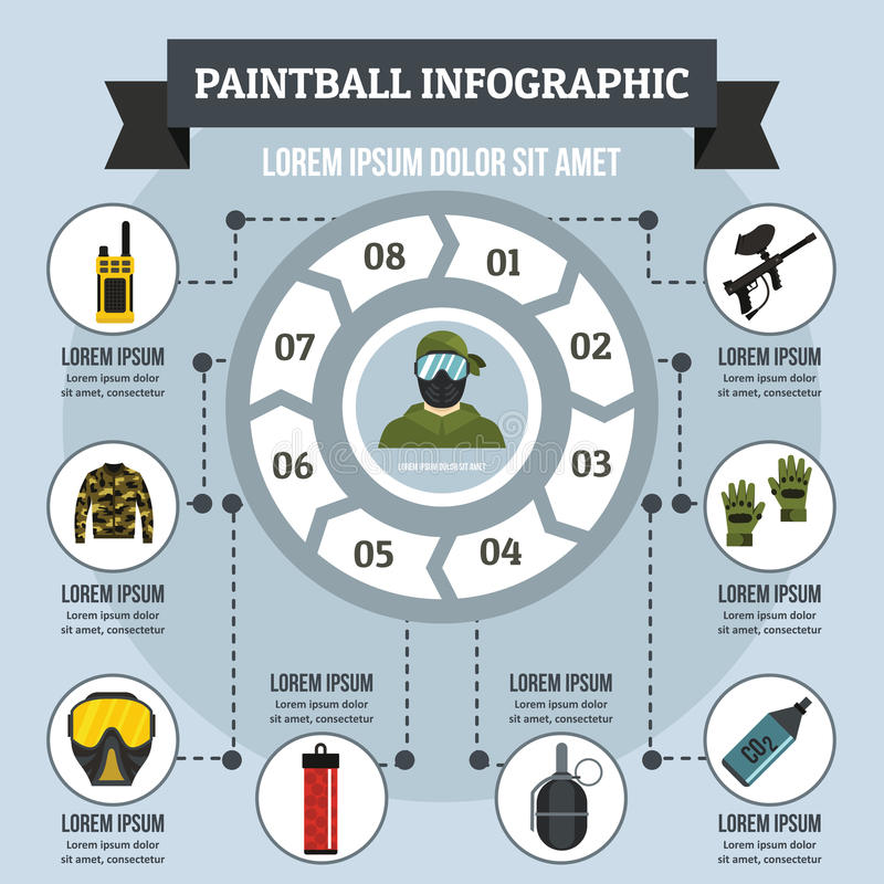 Concept infographic de Paintball, style plat illustration stock