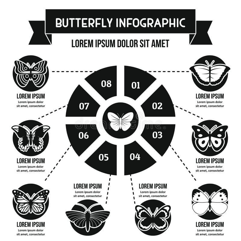 Concept infographic de papillon, style simple illustration stock
