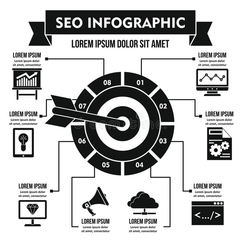 Concept infographic de SEO, style simple illustration de vecteur