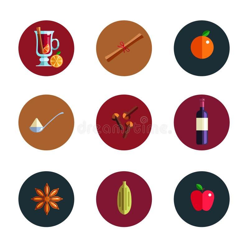 Concept infographic de vin chaud Icônes chaudes de boissons de saison d'hiver Vecteur illustration de vecteur