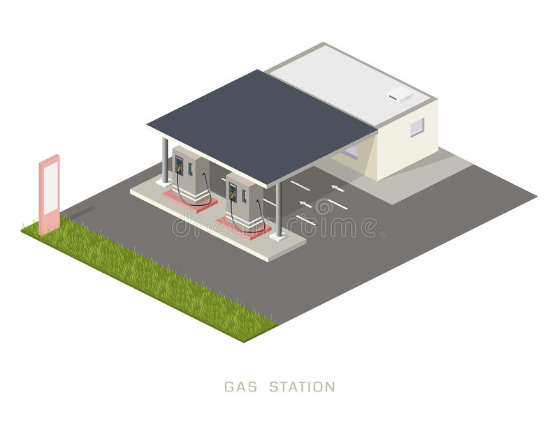 Concept infographic isométrique plat de bloc constitutif de station de recharge d'essence de pétrole du gaz 3d images libres de droits