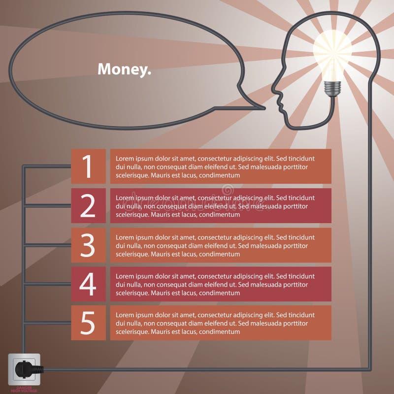 concept infographic Tête humaine avec l'idée - ampoule illustration libre de droits