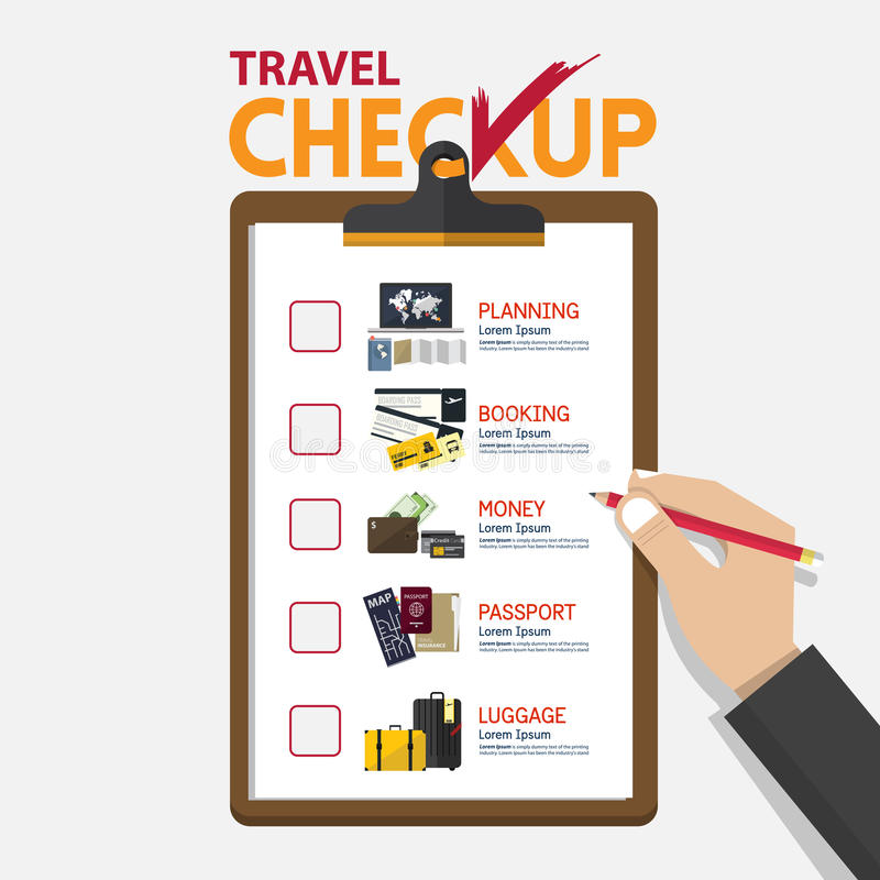 The concept of infographic for travel planning on checkup board in flat design. Hand holding pencil. Vector Illustration royalty free illustration