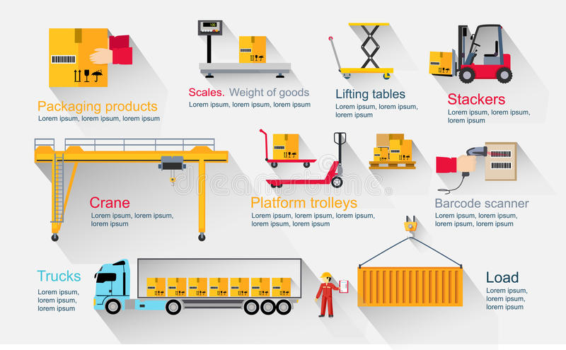 Concept Infographics Equipment Warehouse vector illustration