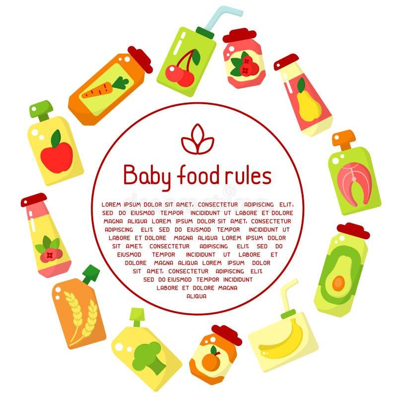 Concept informatieaffiche met babyvoedsel in kruiken en steekproeftekst royalty-vrije illustratie