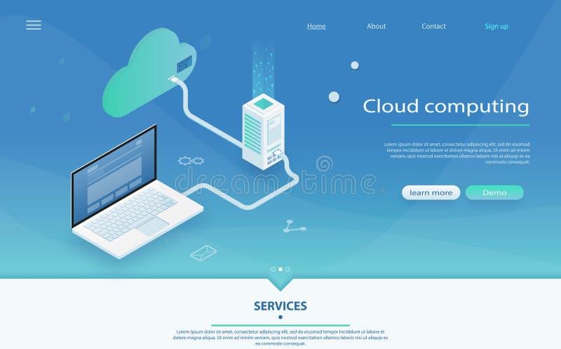 Concept informatienetbeheer Groot de verwerkingsconcept van de gegevensstroom, wolkendatabase royalty-vrije illustratie