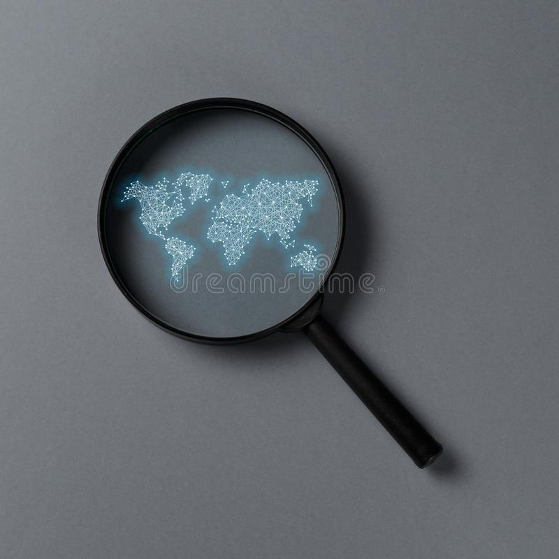Concept information search. Magnifying glass with international map stock illustration