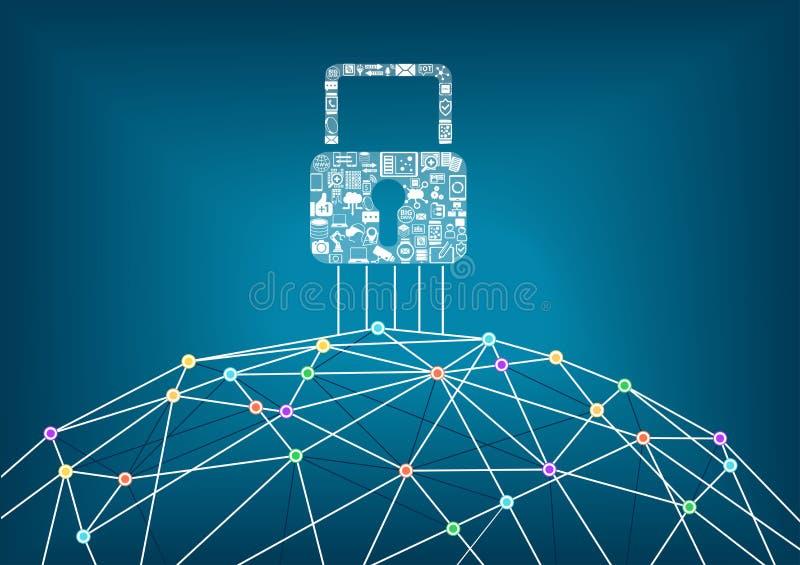 Concept informatique global de protection de sécurité des dispositifs reliés illustration libre de droits