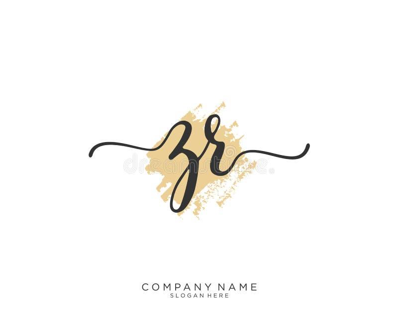 Concept initial de logo d'écriture de ZR images stock