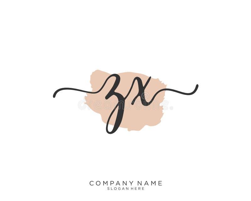 Concept initial de logo d'écriture de ZX images stock