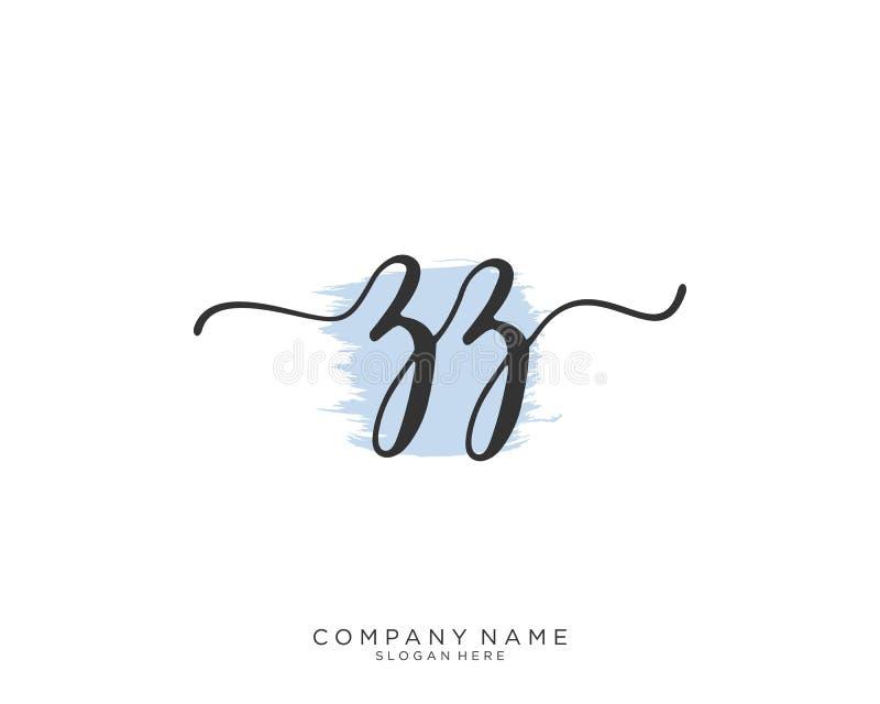 Concept initial de logo d'écriture de ZZ image stock