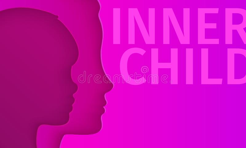 Concept of inner child. Silhouette of a woman showing her inner child living in her mind. stock illustration