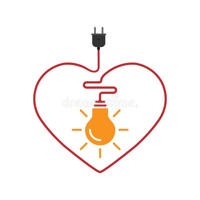 Concept of inspiration 灯泡以电线的形式与心脏相连 库存例证