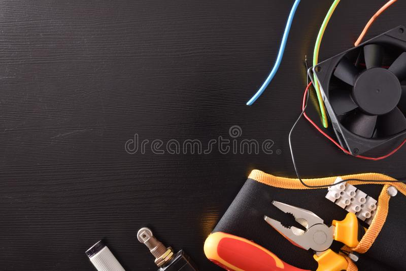 Concept of installation repair and electrical maintenance royalty free stock photography