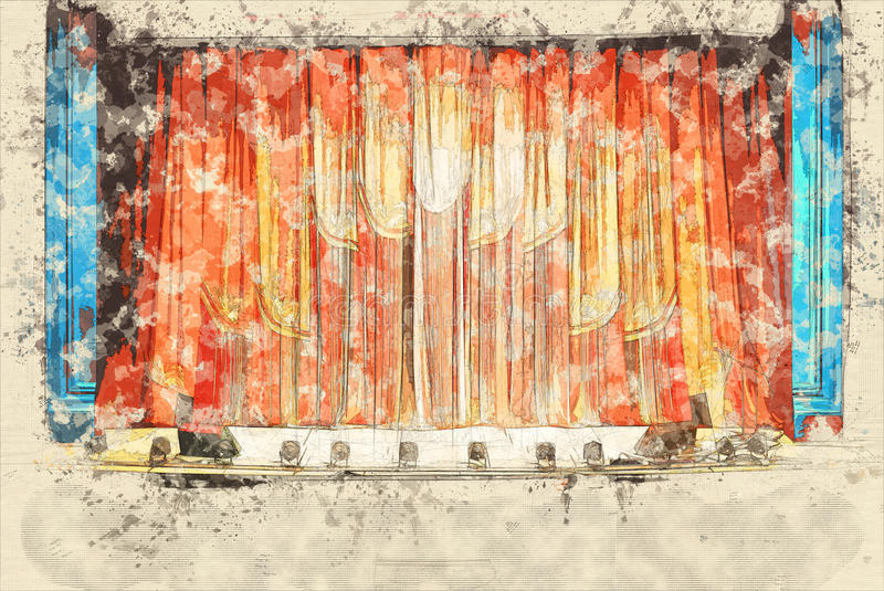 Concept, intérieur de croquis du vieux théâtre, l'assistance attendant l'op image libre de droits