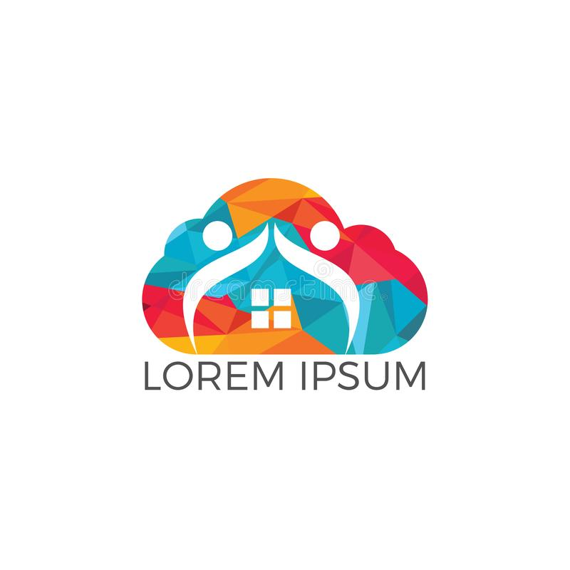 Cloud home and people logo design. vector illustration
