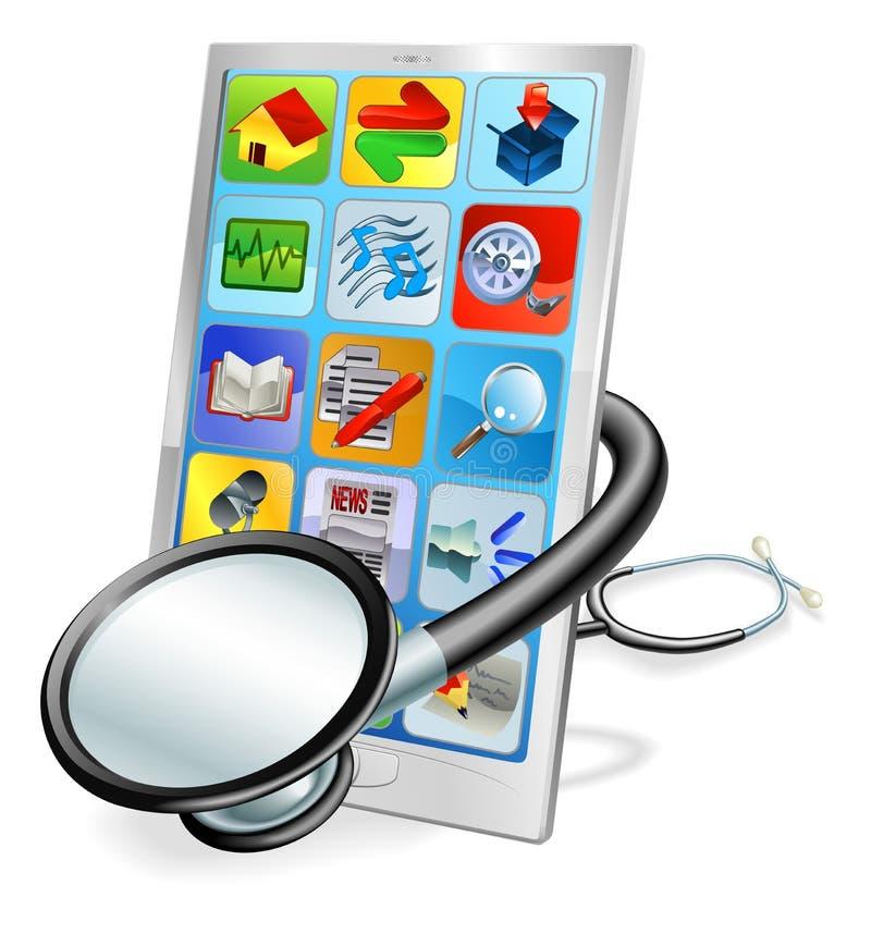 Concept intelligent de contrôle de santé de PC de téléphone ou de tablette illustration stock