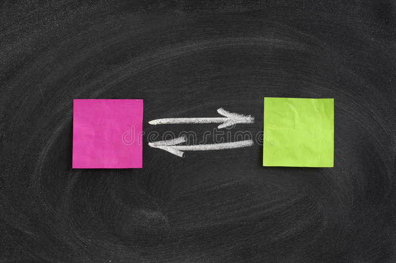 Concept of interaction or feedback on blackboard. Concept of interaction or feedback presented with blank crumbled sticky notes on blackboard, eraser smudge royalty free stock photos