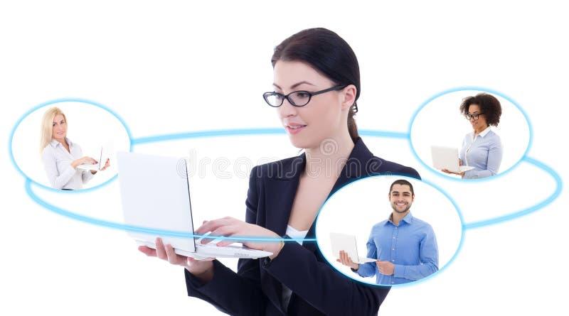 Concept international d'affaires - jeune femme d'affaires parlant des WI image libre de droits