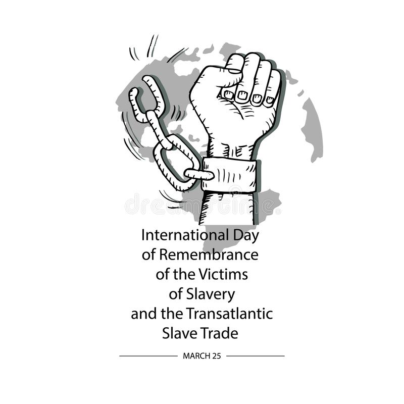 Concept on international day of remembrance of the victims of slavery and the transatlantic slave trade. vector illustration