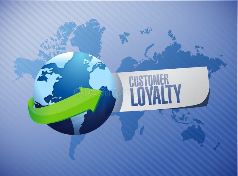 concept international de signe de globe de fidélité de client illustration stock