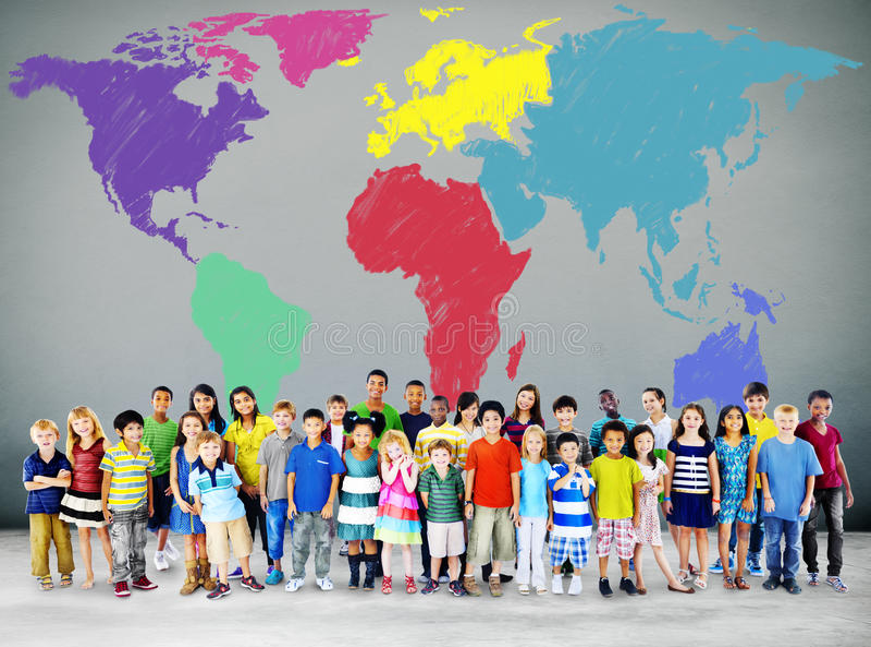 Concept international global de mondialisation de carte du monde photos stock