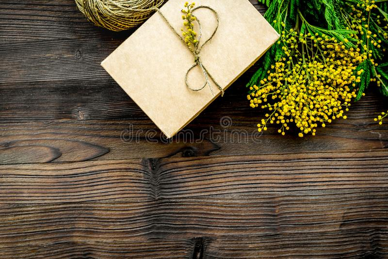 Concept International Women Day with flowers wooden background t. Concept International Women Day with flowers on wooden background top view royalty free stock photography